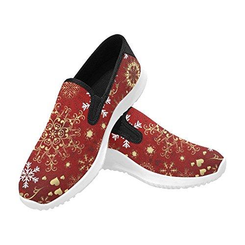 outlet store e9357 53599 Interestprint Natalizio Con Fiocchi Oro E Bianchi Donna Mocassino Slip-on  Canvas Sneakers Moda Multi. scarpe ...