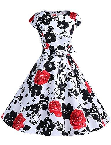 Dressystar DS1956 Women Vintage 1950s Retro Rockabilly Prom Dresses Cap-Sleeve L Red Flower