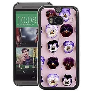 A-type Arte & diseño plástico duro Fundas Cover Cubre Hard Case Cover para HTC One M8 (Pattern Flowers Purple Spring Beige)