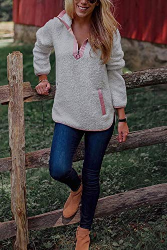 Colorblock À Shirt Poil Warm Femme Pour Polar Grey shirt Sweat Top 5ZqYH