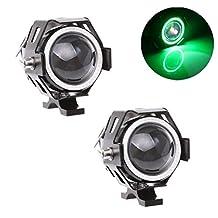Motorcycle LED Headlight U7 Fog Light Spot light Driving Daytime Lights Running Light Angel Eyes Light Ring ((2 Pack) Green Angel Eyes
