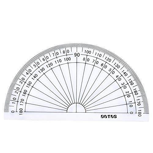 Lvcky - Transportador de plá stico para medició n de á ngulo de 180 Grados, 10,16 cm, Transparente, 10 Unidades