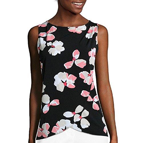 Liz Claiborne Sleeveless Floral Drape Front Knit Top Size PM