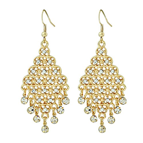 D EXCEED Gift Idea Clear Crystal Dangle Drop Earrings Chandelier Charm Ear Accessory for Women and Ladies Gold