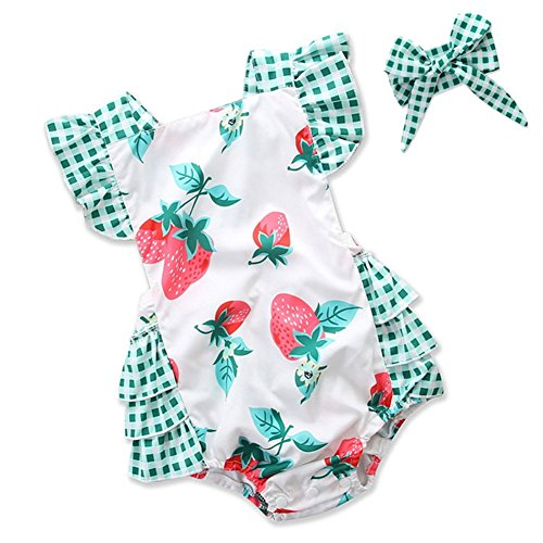 Strawberry Thread - LuoLee Infant Baby Gilrs Clothes Strawberry Print Jumpsuit Romper Playsuit + Headband Outfits