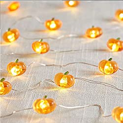 Jack-O-Lantern Orange Pumpkin String Lights - 10ft 40LEDs Long Battery Operated Copper Wire With the Remote & Timer for Indoor/Covered Outdoor/Autumn Parties & Home/Dorm Room Decorations