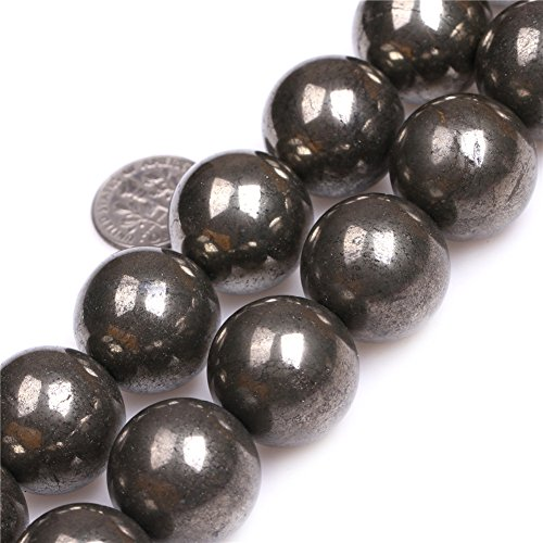 20mm Round Gemstone Silver Gray Pyrite Beads Strand 15 Inches Jewelry Making (Silver Wholesale Gemstone Bracelet)
