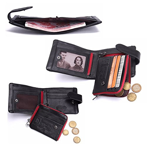 Wallet Red 5 Wallet Vintage Genuine Wallet Leather Cowhide Multi Card Leather Travel 5PxFvqwpBv