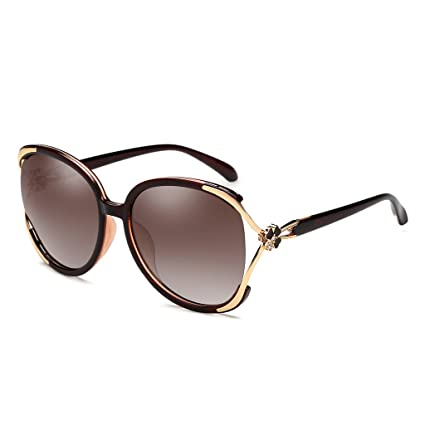 Gafas de sol WLHW Estrella con el párrafo Elegante Caja Grande Polarizada Señora Era Delgada Gafas