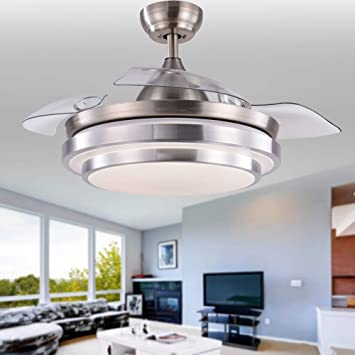 Amazon Com 42 Inch Retractable Ceiling Fan With Led Lights Cct Dimmable Invisible Blades Remote Control Sleep Mode Quiet Motor Brushed Nickel Modern Ceiling Fan For Living Room Bedroom Home Decor Etc Kitchen