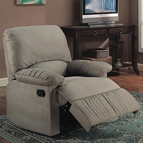 600267 35 Recliner with Reclining Mechanism External Handle Pillow Top Arms Broad Pillow Back Cradle Legs and Microfiber Upholstery in Sage Color (Upholstery Sage Chair Arm)