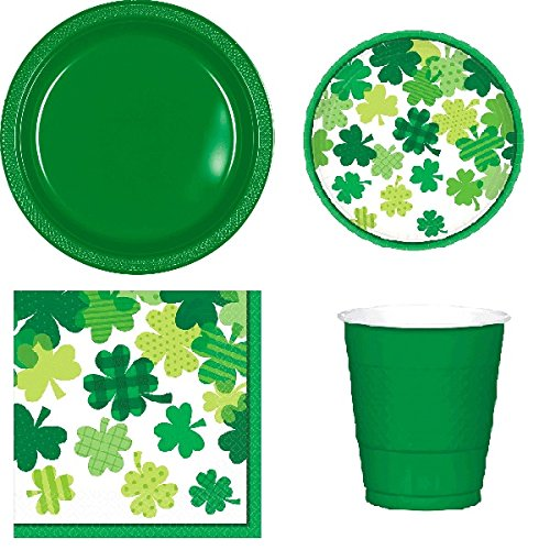 St Patricks Day Party Supplies Pack for 18 - 20 Guests: Large Plastic Plates, Small Plates, Napkins & Cups
