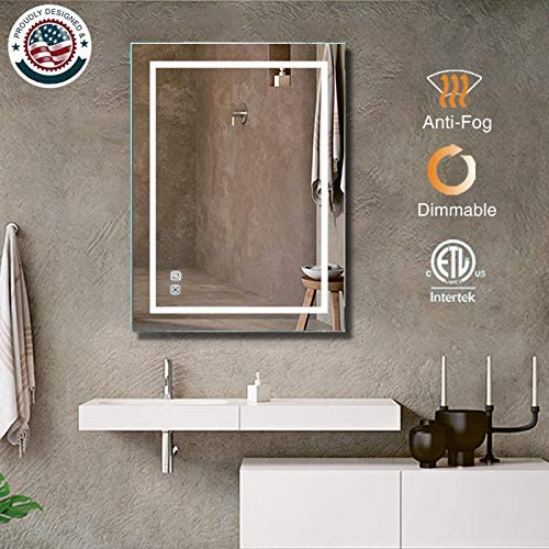 ExBrite LED Bathroom Mirror, 36 x 28 inch, Anti Fog, Dimmable, Touch Button, Slim,90 CRI, Waterproof IP44,Both Vertical and Horizontal Wall Mounted Way