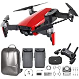 DJI Mavic Air Quadcopter with Remote Controller - Max Flight Bundle with Spare Battery, and Custom Mavic Air Hard Shell Back Pack (Flame Red)