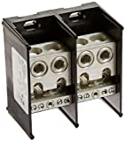 Mersen 69000 Aluminum Large Open Style Box to Stud PDB with 2-Pole and 4 Stud, #14-4 and 3/0-#10 Wire Size, 840 Ampere