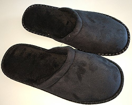 Men's Cotton Slippers Cute Soft Sole Indoor Bedroom Washable Home Shoes by Elaiya Black aOQ9sBbK