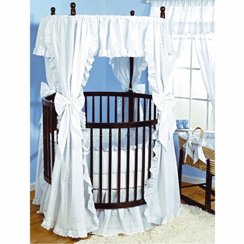 Baby Doll Bedding Carnation Eyelet Round Crib Bedding Set, White