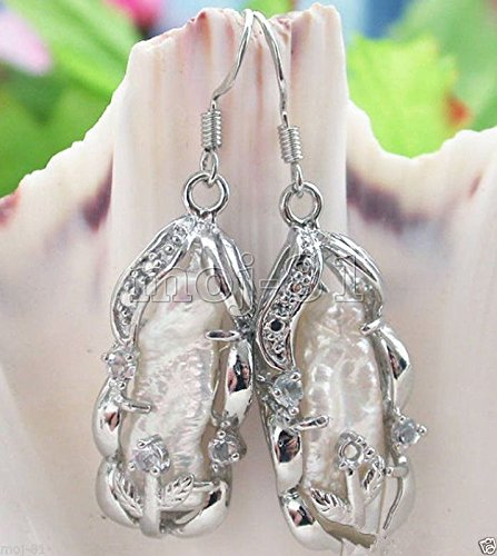 Fashion Natural White Baroque Biwa Feshwater Pearl 925 Silver Dangle Earrings