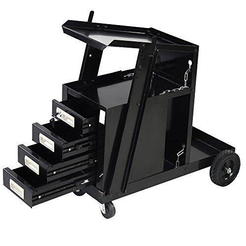 Z ZTDM Professional Welding Cart Plasma Cutting Machine Trolley Welder Plasma Arc Cutting Equipment w/ Universal Storage (w/ 4 drawers)
