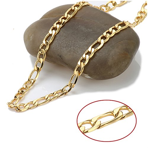 Gold Chain Necklace 5MM 14Kt Gold Diamond Cut Figaro Link with A Real Solid Clasp USA Made! (22) -