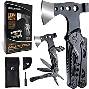 Camping Multitool Accessories Gifts for Men Dad 16 in 1 Upgraded Multi Tool Survival Gear with Axe Hammer Plie