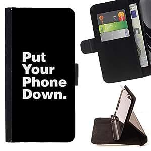 DOWN LIFE FOCUS PUT PHONE QUOTE/ Personalizada del estilo del dise???¡Ào de la PU Caso de encargo del cuero del tir????n del soporte d - Cao - For HTC One M9