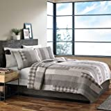 Eddie Bauer 200404 Fairview 3-Piece Cotton Reversible Quilt Set, Full/Queen, Gray
