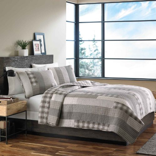 Eddie Bauer Fairview 3-Piece Cotton Reversible Quilt Set, Full/Queen (Cotton Queen Comforter Set)