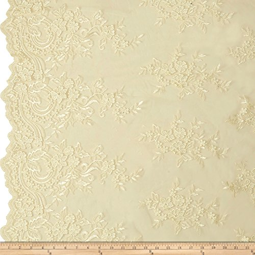 TELIO 0556762 Melissa Mesh Embroidered Lace Ivory Fabric by The Yard ()