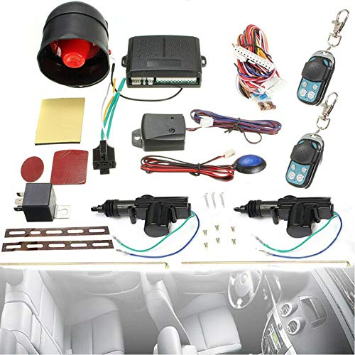 Carrfan Car Remote Central Locking Kit, Universal Vehicle Anti-Theft Alarm Immobiliser System with Shock Sensor Fits for All Car