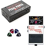 BOSS TU-3 Chromatic Tuner Pedal BUNDLED WITH Voodoo Lab Pedal Power 2 Plus Universal Power Supply with 8 Isolated Outputs AND 4 Blucoil Guitar Picks