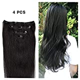 14'' Clip in Hair Extensions Remy Human Hair for Women - Silky Straight Human Hair Clip in Extensions 50grams 4pieces Off Black #1B Color