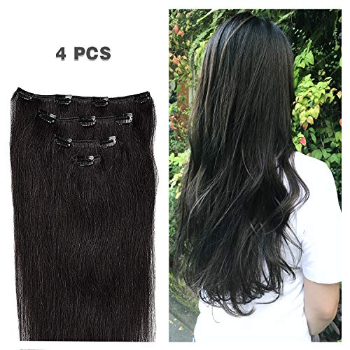 14'' Clip in Hair Extensions Remy Human Hair for Women - Silky Straight Human Hair Clip in Extensions 50grams 4pieces Off Black #1B Color by Winsky