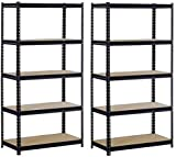 Sandusky/Edsal UR185P-BLK Black Steel Heavy Duty 5-Shelf Shelving Unit, 4000lbs Capacity, 36'' Width x 72'' Height x 18'' Depth (Does not include post couplers) (Pack of 2)