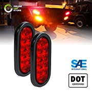 """2pc 6"""" Oval Red LED Trailer Tail Lights [DOT Certified] [Grommet & Plug Included] [IP67 Waterproof] Turn Stop Brake Trailer Lights for RV Jeep Trucks"""