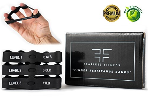 Hand Grip Strengthener and Finger Exerciser - Strength Trainer Resistance Bands that Strengthen the Forearm and Wrist - Best Workout Option for Guitar, Piano, Rock Climbing, Therapy and Stress Relief