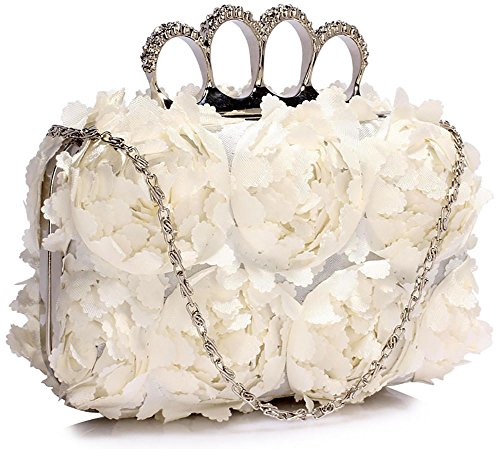 Floral Box Clutch Bag Ladies Hardcase Evening Handbag With Chain Designer Look New Design Design 1 - Ivory