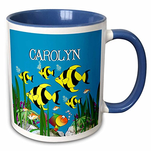 3dRose SmudgeArt Female Child Name Designs - Colourful tropical plants and fish design personalized with a female name CAROLYN - 11oz Two-Tone Blue Mug (mug_51304_6)