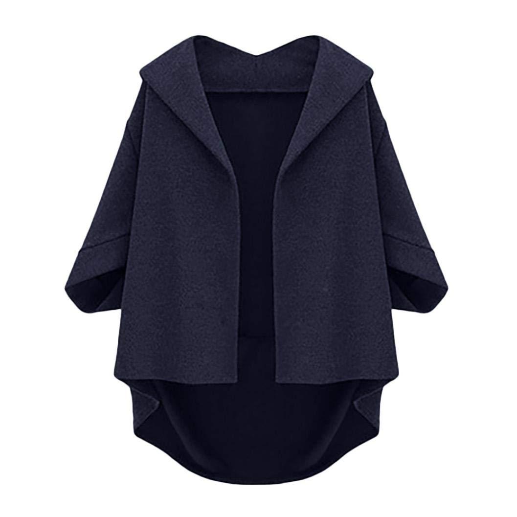 Pandaie Womens Jacket,Womens Autumn Bat Sleeves Cropped Sleeves Five Plus Winter Woolen Coat NY 2XL