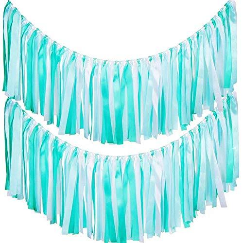 AZOWA Assembled Ribbon Tassel Garland Teal Blue Handmade Fabric Banner Fringe Hanging Decor for Wedding Nursery Photo Props Bridal Shower Party Decorations (40'' (L) X 14'' (H), Blue, White) -