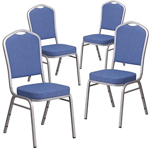 Flash Furniture 4 Pk. HERCULES Series Crown Back Stacking Banquet Chair in Blue Fabric - Silver Frame ()