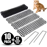 Abco Tech Cat Scat Spike Mat (10 Strips) - Gentle Pet Deterrent for Cats - Dogs and More - Non-Toxic Humane and Effective Repellent - Easy to Install - Includes 12 Garden Staples
