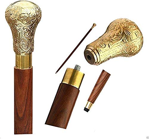WhopperOnline Wooden Adjustable Walking Stick Vintage Brown Rosewood Decorated with Round Brass Handle Walking Stick for Men and Women, Wooden Decorative Walking Cane - 37 - Round Handle Adjustable