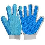 2-in-1 Pet Glove: Grooming Glove Furniture Pet Hair Remover Brush - for Cat & Dog - Long & Short Fur - Efficient Deshedding Glove - Soft Rubber Tips for Massage - Enhanced Five Finger Design