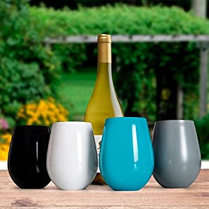 Sips Of Slainte Stemless Stainless Shatterproof Steel Wine Glass (Set of 4 -White, Grey, Black, Turquoise) For Indoor and Outdoor Entertainment, Gifts and Everyday Use!