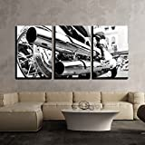 wall26 3 Piece Canvas Wall Art - Motorcycle/Motor Bike in Black and White Vintage/Retro Style - Modern Home Decor Stretched and Framed Ready to Hang - 16''x24''x3 Panels