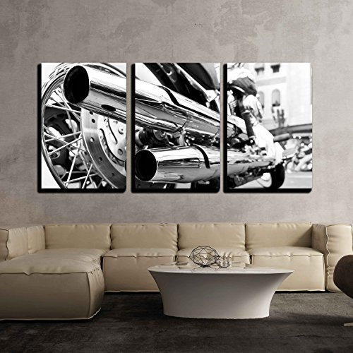 Motorbike Framed (wall26 - 3 Piece Canvas Wall Art - Motorcycle/Motor Bike in Black and White Vintage/Retro Style - Modern Home Decor Stretched and Framed Ready to Hang - 16