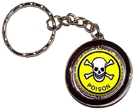 Amazon.com: Poison - Llavero redondo con diseño de calavera ...
