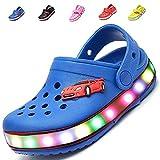 MONEM Kids Boys Girls LED Flash Light up Summer Beach Shoes Walking Slippers (Toddler/Little Kid)