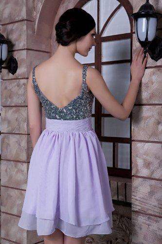 BRIDE mit Suesse Lavendel Chiffon Perlen GEORGE Abendkleid Kurz Gurt verziert w6gBxq